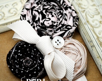 Hand Rolled Rosette Stretch Band, Blush Pink, Brown Flower Headband, Photo Prop, Rolled Fabric Flower Hair Clip