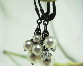 Bridal Earrings, Oxidized Cluster White Pearl and Crystal Dangle Earrings, Vintage Inspired Bridal Jewelry