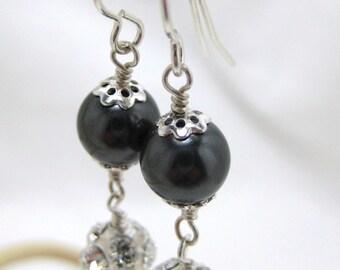 Rhinestone Bridal Earrings, Black Pearl Dangle Earrings, Sterling Silver, Bridesmaids Earrings, Wedding Earrings