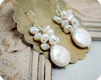 Freshwater Pearl Bridal Earrings, Elegant Cluster Freshwater Pearl Dangle, Beach Wedding, Wedding Earrings, Sweet Simple Earrings