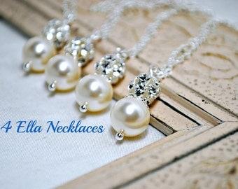 Set of 4, Four Swarovski Ivory Pearl Bridesmaids Necklaces, Rhinestone, Bridal Gifts, Pendant Pearl Necklace, Bridesmaids Necklaces