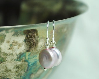 Pink Coin Freshwater Pearl Earrings, Petite Drops, Bridesmaids Gifts, Bridal Jewelry, Powder Pink, Sterling Silver, Modern, Delicate Design