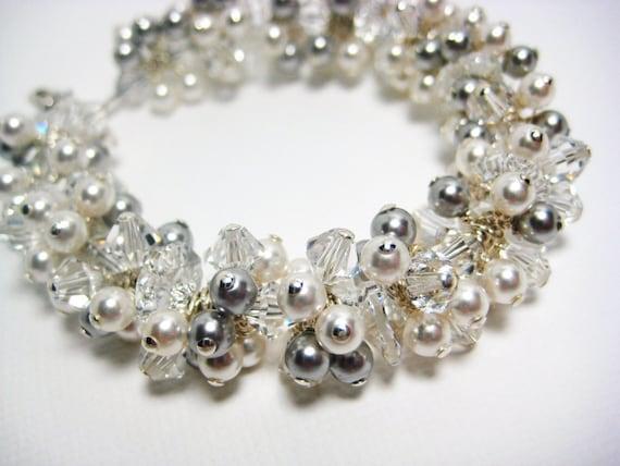 Bridal Bracelet, White Pearl Cluster Bracelet, Wedding Bracelet, Cuff Bracelet, Bridesmaids Gifts, Light Grey Pearls, Elegant, Swarovski