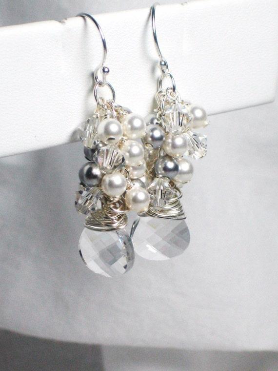 Bridal Earrings, White Pearl Cluster Earrings, Swarovski Crystal Briolette, Bridal Jewelry, Wedding Earrings, Long, Dangle, Wedding Jewelry