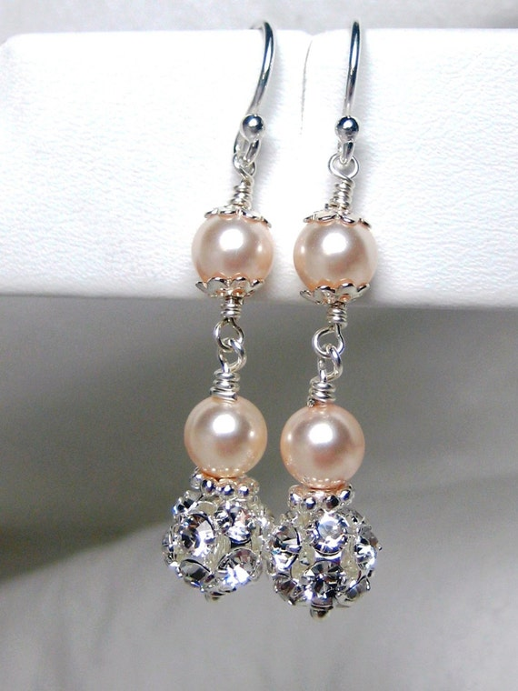 Champagne pearl bridal earrings wedding earrings for Jewelry for champagne wedding dress