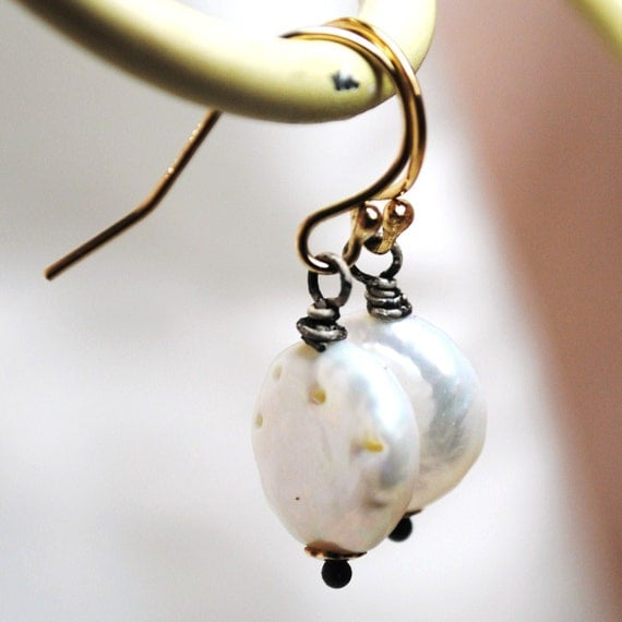 White Freshwater Coin Pearl Earrings, Gold Earrings, Oxidized Sterling Silver Earrings, Pearl Drop Simple Earrings, Small Drop Earrings