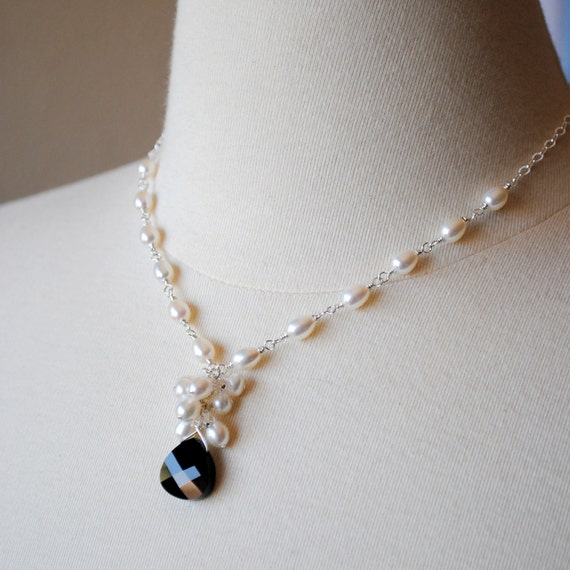 Ivory Freshwater Pearl Bridal Necklace, Cluster, Black Briolette, Wedding Pendant, Handmade, Wire Wrapped, Alicia N276
