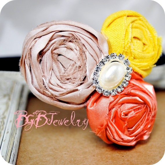 Fabric Flower Headband, Orange, Yellow, Pink Flowers, Photo Prop, Shabby Chic, Hand Rolled Fabric Flower, BGBJewelry