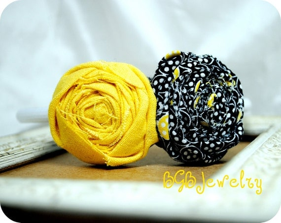 Yellow Fabric Flower Headband, Black Flower, White Headband, Photo Prop, Wedding Hair Accessories, Nautical Spring Color, Spring Accessories