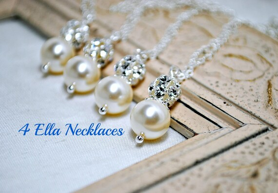 Set of 4, Four Swarovski Ivory Pearl Bridesmaids Necklaces, Rhinestone, Bridal Gifts, Pendant Pearl Necklace, Bridesmaids Necklaces