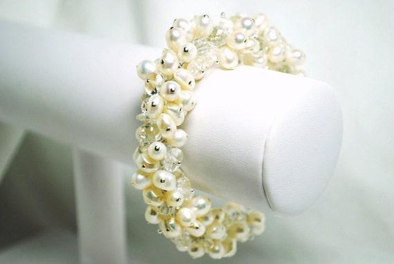 Tatiana Bracelet - Clear Quartz, Freshwater Pearls, Cluster Bridal Free Shipping, B232B09