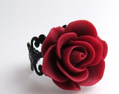 Dark Red Rose Ring - Blooming rose adjustable black filigree ring