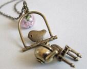 Bird charm with pink & green lampwork floral bead - Antique bronze necklace - Tea Garden Series
