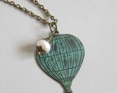 Whimsical Hot Air Balloon & Freshwater Pearl Necklace - Antique bronze necklace with verdigris patina charm - Veeanca Under 20