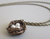 Birds Nest Necklace w/ Freshwater Pearl Eggs - Antique bronze 16 inch - Great gift for baby shower or nature lover