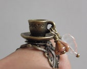 Garden Chai Tea Latte - Tea or Coffee cup and saucer with czech flower and leaf - Adjustable antique bronze filigree ring