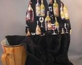 Hanging Dish Towel Wine Bottles Fabric