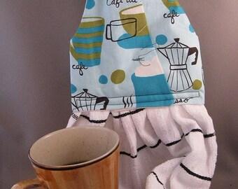 Hanging Dish Towel Coffee Blues Fabric