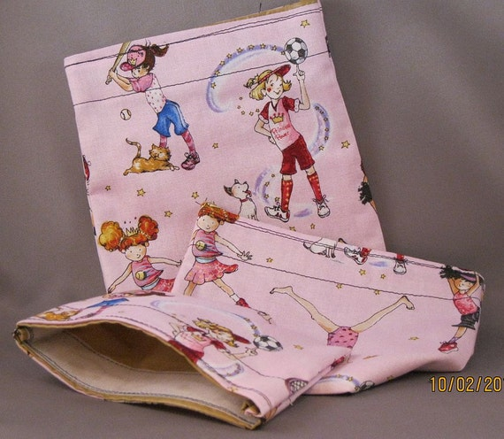 ECO FRIENDLY REUSABLE  Sandwich and Snack Bags  Girls Sports