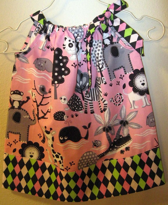 SALE Toddlers Pillowcase Dress Size 1 Zoo Animals on Pink
