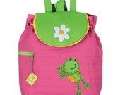 Personalized Stephen Joseph Quilted Back Pack Pink Frog by Never Felt Better