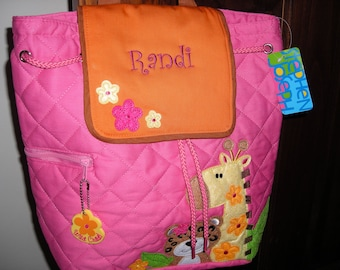 Personalized Stephen Joseph Quilted Back Pack Girl Zoo by Never Felt Better