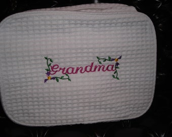 Embroidered Two Compartment Waffle Weave Cosmetic Bag for Grandma by Never Felt Better