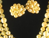 Classic Yellow 3 Strand Beaded Necklace With Matching Clip On Earrings Circa 1950s - Free Shipping