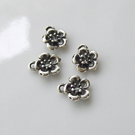 Tiny Sterling Silver Flower Charms