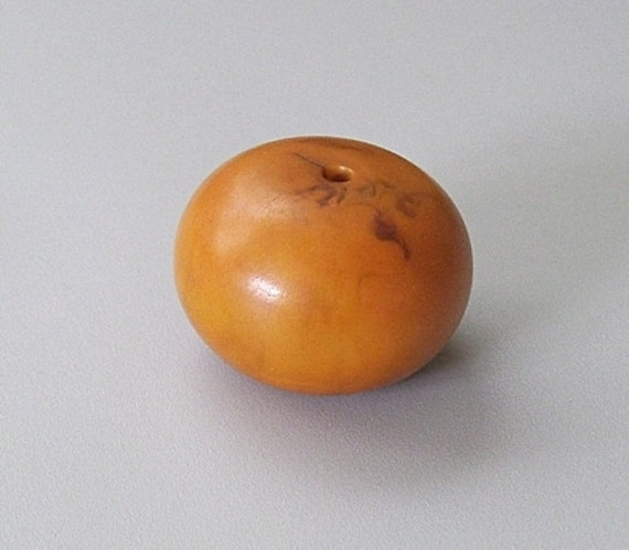 Large Amber Resin Bead, Vintage African Trade Bead