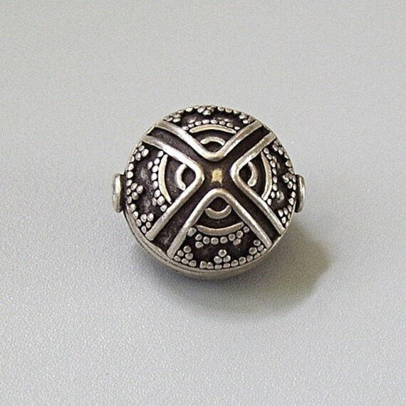Large Bali Sterling Silver Bead