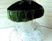 19th Century Antique Ornate Victorian Make-Do Pincushion Emerald Green and Black Velvet with Glass Beads
