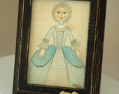 Petite Poppet Original Watercolor - inspired by English wooden Queen Anne dolls of the 18th century