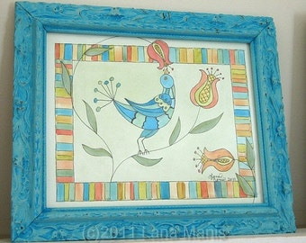 Folk Art Frolic No.2 Original Fraktur Inspired Watercolor in Antique Deep Aqua Frame