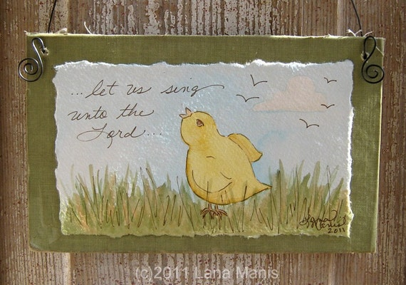 Unbound Collection - Upcycled Book Cover Spring Chick Watercolor - let us sing unto the Lord
