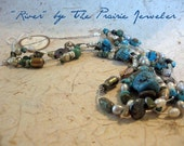River.... Triple strand turquoise and sterling silver necklace