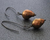 Elongated Bronze Pearl Earrings
