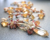 Gemstone Cluster Necklace with Luxe Citrine, Pearls and Sapphire in Sterling and fine silver