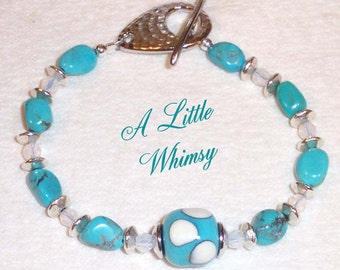 A LITTLE WHIMSY Lampwork Turquoise Crystal bracelet