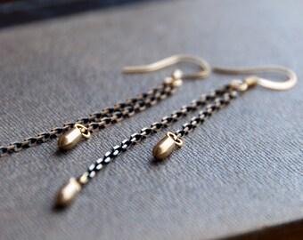 Comets Falling Gold Earrings / Bombs Away / Bullet Earrings / Bomb Earrings