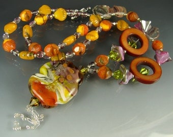 CLEARANCE. Glass Lampwork Beads, Beaded Handmade jewelry Necklace, Pendant. CARAMELOS part 2 by OPENSTUDIO. Art.