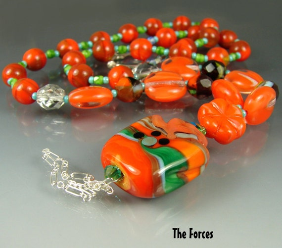 Glass Lampwork Beads CLEARANCE. Handmade Beaded Jewerly Art. Necklace, pendant. The FORCES. OPENSTUDIO