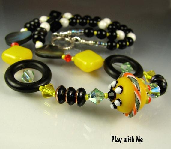 CLEARANCE. Glass Lamwork Beads. Handmade Beaded Necklace, pendant. Jewelry Art. PLAY With Me. OPENSTUDIO