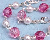Bella Bracelet, Sterling Silver Wire Wrapped Swarovski Glass Pearls and Clear Crystals, Light Rose and Rose Shown, Design Your Own