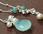 Sea Maiden Aqua Chalcedony Briolette and Freshwater Pearl GLOW Necklace on Sterling Silver