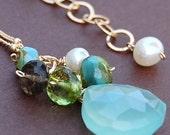 Aqua Chalcedony Necklace, Apple Green Peridot, Pearl, Smoky Quartz Gemstones on 14K Gold Filled Chain, Inspire