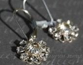 Crystal Flower Earrings, Clear, Sterling Silver Leverback, Swarovski, Bridal, Weddings, Bridesmaids, Romantic Filigree, Sabrina