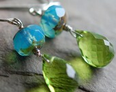 Aqua Blue and Green Earrings, Czech Glass and Peridot Quartz Briolette Gemstones, Sterling Silver Wire Wrapped, Lazy Palms
