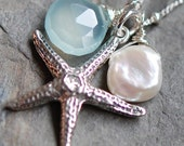 Starfish Necklace, Sterling Silver Sea Star, Aqua Chalcedony, Keshi Pearl, Large Charm, Ocean Tranquility hamptonjewels