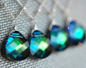 Set of 3 Peacock Bridesmaid Necklaces, Blue Green Swarovski Crystal Briolette 15 mm and Sterling Silver Chain